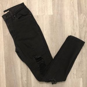 Levi's 721 High Rise Skinny destroyed ripped jean